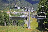 image of ropeway  - Ropeway on a top of one of the mountains of Bukovel ski resort Carpathians - JPG