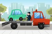 picture of towing  - A vector illustration of tow truck towing a broken down car - JPG