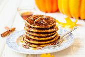 foto of pecan  - Spiced Pumpkin pancakes with maple syrup and pecan - JPG
