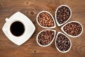 foto of coffee grounds  - Overhead view of black coffee with several varieties of fresh roasted coffee beans on a brown wooden background - JPG