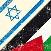 stock photo of israel israeli jew jewish  - Israeli and palestinian grunge Flag - JPG