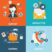 foto of newsletter  - Set of flat design concept icons for web and mobile phone services and apps - JPG