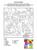 pic of colorful building  - Color by numbers activity page for children with toy town scene made of colorful building blocks - JPG