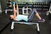 pic of work bench  - Fit brunette lifting dumbbells on bench at the gym - JPG