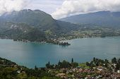 stock photo of annecy  - Overview of Lake of Annecy and mountains in france - JPG