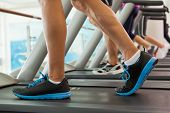 foto of treadmill  - Row of people working out on treadmills at the gym - JPG
