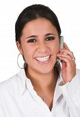 Happy Business Woman On The Phone poster