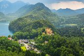 pic of bavarian alps  - Hohenschwangau village and castle in the Bavarian Alps - JPG