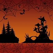 foto of cobweb  - Holiday Halloween landscape with silhouetted magic Castle  - JPG