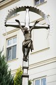 picture of crucifixion  - Crucifixion of Jesus Christ placed in the castle courtyard in Nitra city Slovak republic - JPG