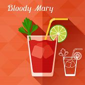 image of bloody mary  - Illustration with glass of bloody mary in flat design style - JPG