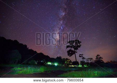 Milky Way Long Exposure At Phu Hin Rong Kla National Park,phitsanulok Thailand