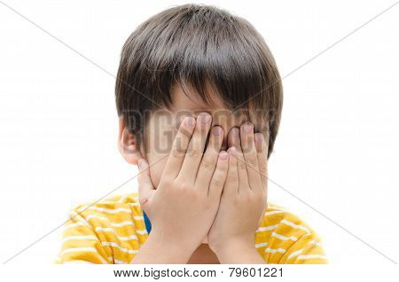 Little Boy Hand Cover Face Crying On White Background