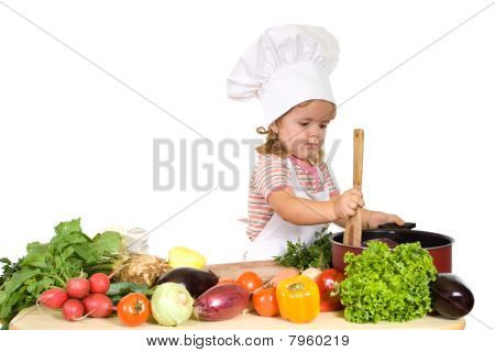 Little Chef Prepating Healthy Meal