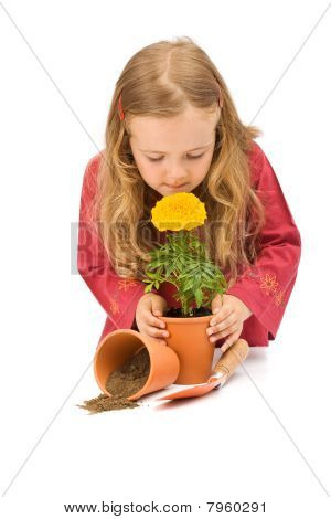 Little Girl Smelling Potted Flower