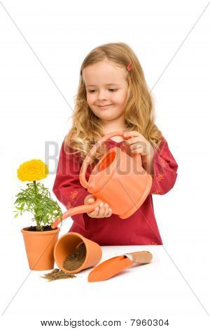 Little Girl Watering Potted Flower