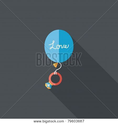 Wedding Balloons With Diamond Rings Flat Icon With Long Shadow,eps10