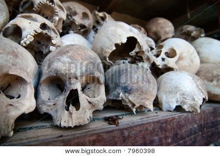 Skulls of torture victims at the Killing Fields, Cambodia