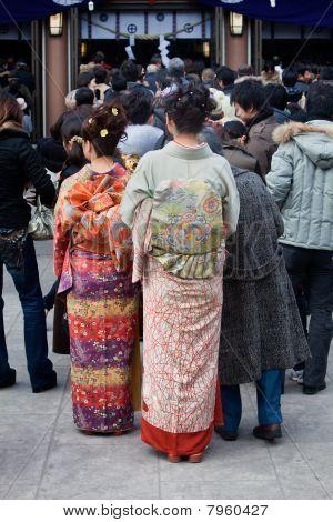 Women in kimono at a shrine