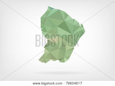 Low Poly map of french region Guyane