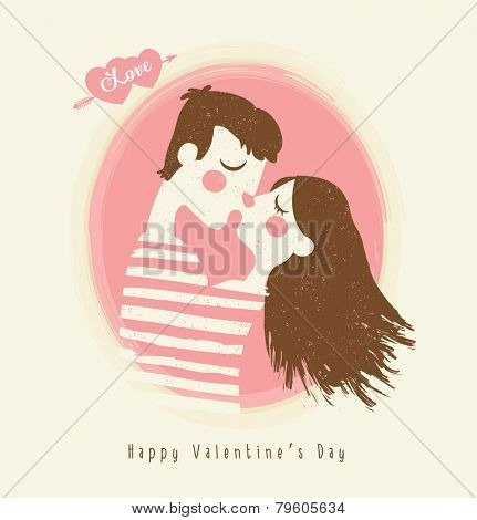 Happy Valentines day card with young couple kissing