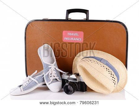 Travel suitcase with inscription  travel insurance isolated on white