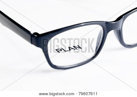Plan Word See Through Glasses Lens, Business Concept