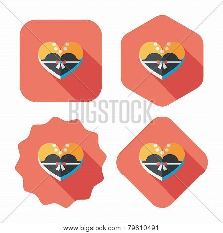 Wedding Bride Dress Shaped Box Of Cookies Flat Icon With Long Shadow,eps10