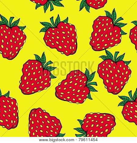 strawberry cartoon illustration seamless pattern