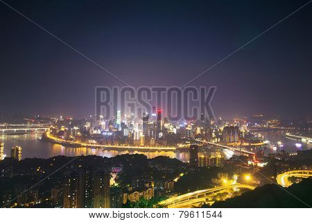 skyline,cityscape and buildings of modern city chongqing at night.