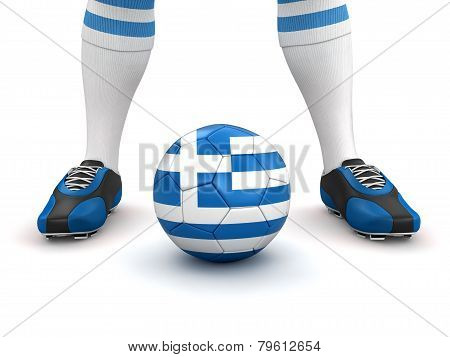 Man and soccer ball  with Greek flag (clipping path included)