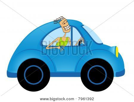 happy man on cartoon car