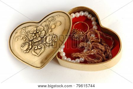 Valentine Bronze Casket With Jewelry