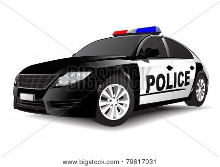 Police 3D car on White Vector