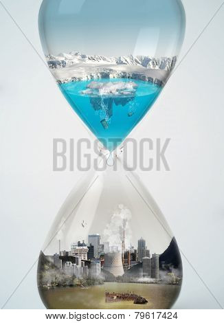 Pollution, save earth, eco concept in hourglass.