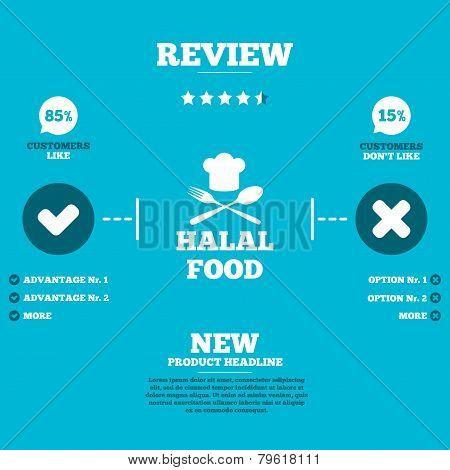 Halal food product sign icon. Natural food.