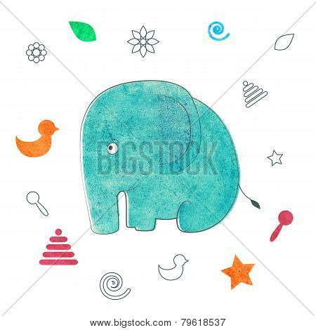 Watercolor Kids Print. Funny Elephant.