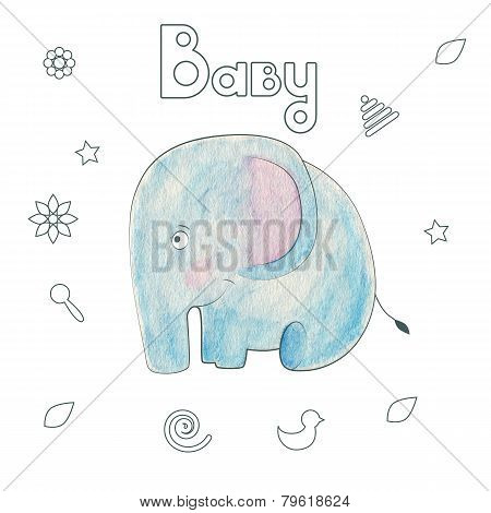 Watercolor Kids Print. Funny Gentle Elephant