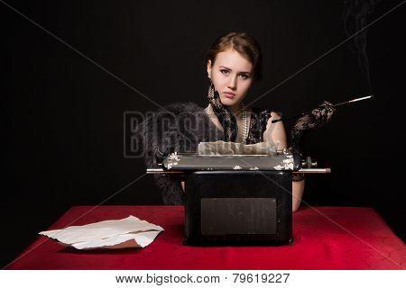 Noir Film Journalist Girl At Work