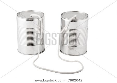 Tin Cans Connected By String, Business Communication Concept