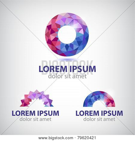 vector abstract circle round crystal colorful icon