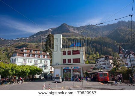 Vitznau, Switzerland - April 20, 2014:  Railway Station For Trip From Lake Lucerne Shore To Mount Ri