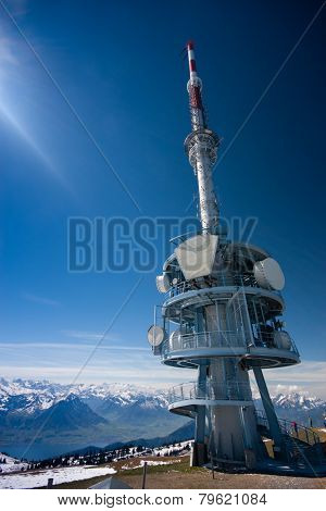 Telecommunication Tower On The Top Of Mount Rigi, Switzerland