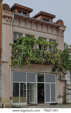 Interesting old building facade in Ruse town