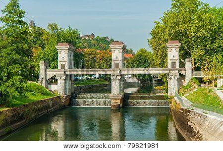Floodgate on river Ljubljanica, Ljubljana, Slovenia