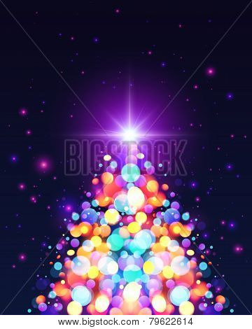 Bright colors bokeh light effect Christmas tree