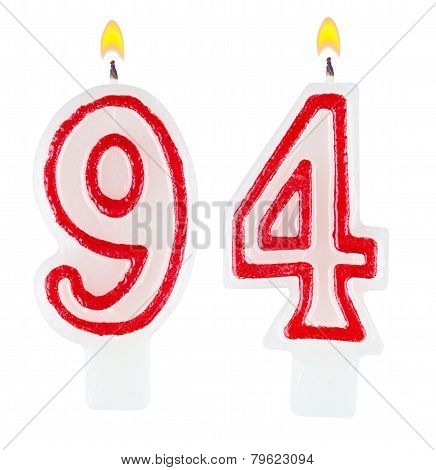 Birthday Candles Number Ninety Four