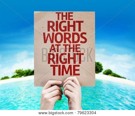 The Right Words At The Right Time card with a beach on background