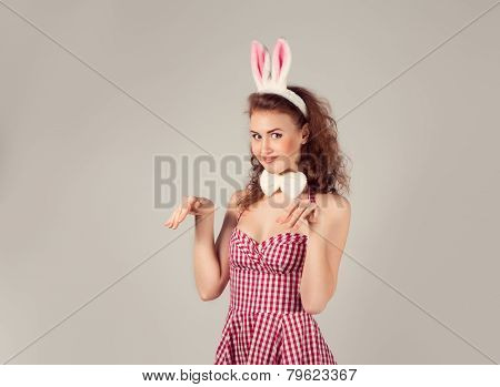 Sexy Girl Wearing Easter Bunny Costume With Eggs In Basket
