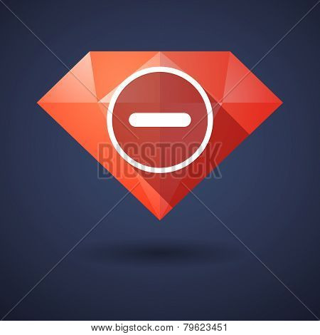 Diamond Icon With A Subtraction Sign
